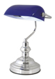 'Advocate' Bankers Lamp - Chrome with Blue Shade