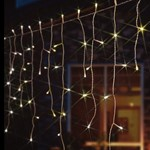 160 LED Random Twinkling Icicle Lights - Warm White / White Cable - Outdoor