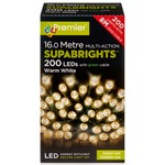 200 Multi-Function Supabrights Festive Lights With Green Cable - Warm White