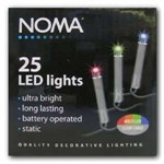 25 Multicoloured LED Battery Operated Lights Clear Cable - 1205CM