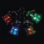 40 Traditional Filament Lantern Lights - Multi Coloured / Black Cable