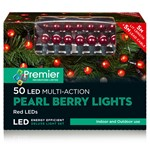 50 Multi-Function Red LED Pearl Berry Lights