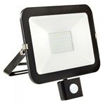 50W LED Slimline Floodlight + PIR - BLACK