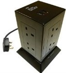 8 Gang Surge Protected Extension Tower with 2 USB Sockets & 1.5m Lead - Black