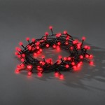 Konstsmide Light Set 160 LED Red White Berry Light on Black Cable