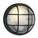 Anola 40W Round Clear Glass Garden Outdoor Bulkhead Wall Light - Black
