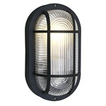 Anola Outdoor Oval Bulkhead Wall Light - Black IP44