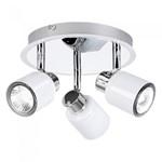 Benton 150W 3 Head Round Plate Polished Chrome White Ceiling Spotlight