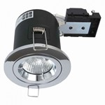 Fire Stop 240v GU10 Fixed Fire Rated Downlight - Chrome