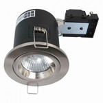 Fire Stop 240v GU10 Fixed Fire Rated Downlight - Satin Chrome
