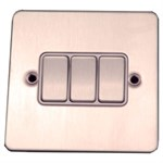 Flat Stainless Steel 3 Gang Switch
