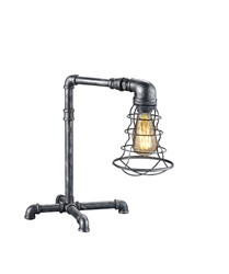 Gotham - Industrial Style Antique Silver Table Lamp With Inline Switch