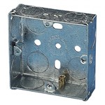 Single Galvanised Metal Recessed Pattress Knockout Back Box - 25mm