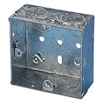 Single Galvanised Metal Recessed Pattress Knockout Back Box - 35mm