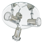 Tamara 3 Light Bathroom Ceiling Spotlight Nickel Matt/Chrome Finish