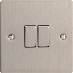 Varilight Ultra Flat 2 Gang 10A Rocker Switch in Brushed Steel