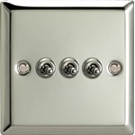 Varilight  3G 1 or 2W 10A Classic Toggle Switch Chrome - XCT3