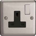 Varilight Cl Blk 1 Gang  Switched Socket Decor Brushed Chrome Black Inserts