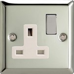 Varilight XC5DW Mirror Chrome Classic 1 Gang 13A Switched Socket with White Inserts
