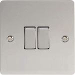 Varilight Ultra Flat 2 Gang 10A Rocker Switch in Polished Chrome